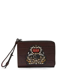 Christian Louboutin Tinos Crest Embellished Leather Wallet Brown