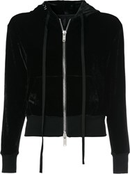 Unravel Project Velour Basic Zip Hoodie Black