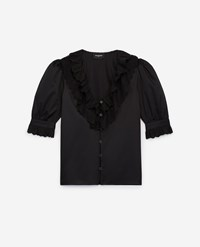 The Kooples Buttoned Black Cotton Shirt With Frills