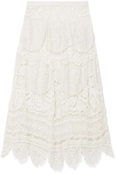 Loveshackfancy Drew Crocheted Lace And Embroidered Voile Midi Skirt Off White