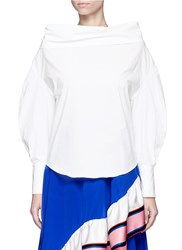 Emilio Pucci Convertible Oversized Off Shoulder Cotton Shirt White