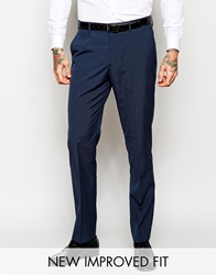 Asos Slim Fit Suit Trousers In Blue Pindot