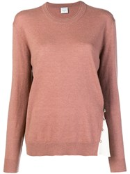 Alysi Contrast Insert Sweater Pink And Purple