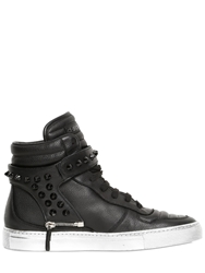 D S De Spiked Nappa Leather High Top Sneakers Black