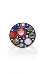 Noor Fares Upratna Seal Ring In Blue Enamel Grey Gold With Various Coloured Stones And Diamonds Multi