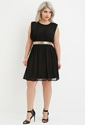 Forever 21 Plus Size Sequin Panel Layered Chiffon Dress Black Gold