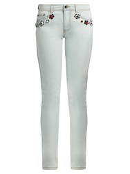 Fendi Flower Stud Embellished Mid Rise Skinny Jeans Light Blue