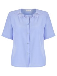 Eastex Pleat Collar Blouse Blue