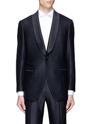 Tomorrowland Silk Shawl Lapel Wool Tuxedo Blazer Blue