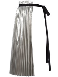 N 21 No21 Accordion Pleat Skirt Panel Metallic