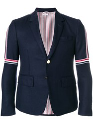 Thom Browne Seam Elastic Stripe High Armhole Wool Sport Coat Blue