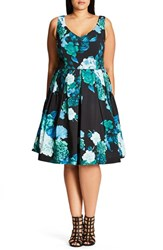 City Chic Plus Size Women's Fresh Hydrangea Print Fit And Flare Dress