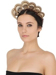 Anisha Parmar London Lotus Leather And Wooden Headpiece