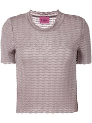 D'enia Textured Knit T Shirt Women Nylon Acetate Metallized Polyester M Pink Purple