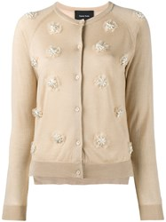 Simone Rocha Faux Pearl Embellished Cardigan Nude And Neutrals