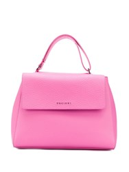 Orciani Logo Top Handle Tote Pink