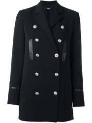 Versus Classic Collar Double Breasted Coat Black