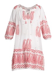 Juliet Dunn Paisley Print Cotton Dress White Multi