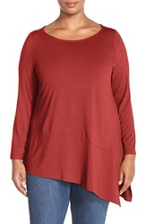 Plus Size Women's Eileen Fisher Bateau Neck Lightweight Jersey Tunic Pimento