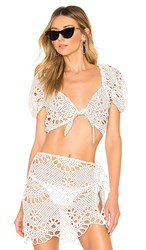 For Love And Lemons Cookies N Cream Tie Front Top In White. Ivory Eyelet