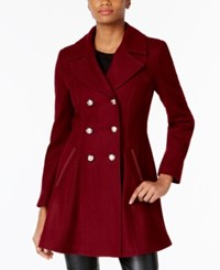 Laundry By Shelli Segal Double Breasted Skirted Peacoat Black