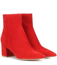 Gianvito Rossi Piper 60 Suede Ankle Boots Red