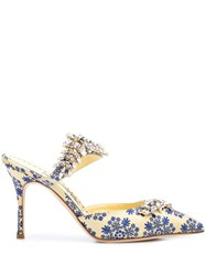 Manolo Blahnik Floral Pointed Mules Blue