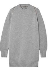 Alexander Wang Oversized Zip Detailed Ribbed Merino Wool Sweater Gray