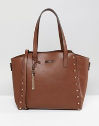 Dune Dancy Tote Bag With Gold Stud Detailing Tan W Gold Studs