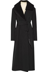 Christophe Lemaire Faux Shearling Trimmed Wool Gabardine Coat Black