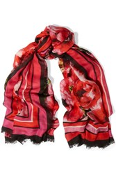 Balmain Floral Print Modal And Cashmere Blend Scarf Red
