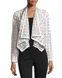 Milly Draped Perforated Leather Jacket White