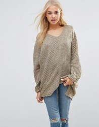 Qed London Oversized Cable Knit Jumper Beige
