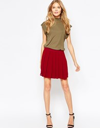 Wal G Pleated Skater Skirt Berry