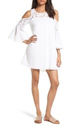 Trixxi Women's Bell Sleeve Cold Shoulder Dress White