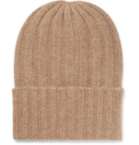 The Elder Statesman Short Bunny Echo Ribbed Cashmere Beanie Camel