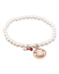Tous Camille Cultured Freshwater Pearl Beaded Stretch Bracelet With Mother Of Pearl Bear And Ruby Charms White And Rose