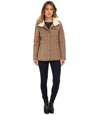 Michael Michael Kors Quilted W Sherpa Truffle Women's Coat Brown