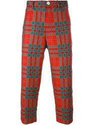 Comme Des Garcons Shirt Boy Tartan Check Trousers Red