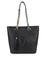 Valentino By Mario Valentino Marylin Stamped Logo Leather Tote Bag Black