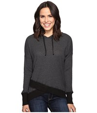 Allen Allen Long Sleeve Cross Over Hem Hoodie Black Women's Sweatshirt