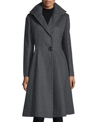 Vera Wang One Button A Line Coat Deep Charcoal