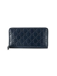 Gucci Signature Zip Around Wallet Women Leather One Size Blue