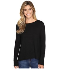 Lilla P Long Sleeve Pleat Back Black Women's Clothing