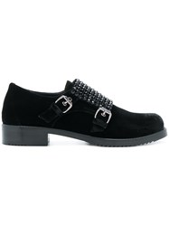 Loriblu Crystal Embellished Double Monk Strap Shoes Velvet Rubber Leather Black