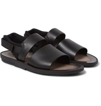 Tod's Neoprene Trimmed Leather Sandals Black