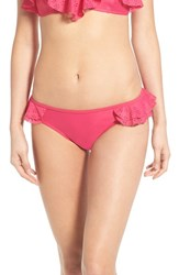 Junior Women's Bp. Eyelet Ruffle Bikini Bottoms Pink Cyclamen