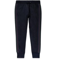 Paul Smith Ps By Slim Fit Striped Cotton Blend Jersey Sweatpants Navy