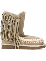 Mou 'Eskimo' Fringed Boots Nude And Neutrals