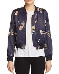 Aqua Embroidered Floral Bomber Jacket Navy